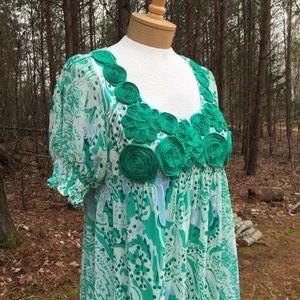 Beige by Eci Dress Size 14 Peasant